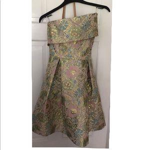 TOPSHOP - Floral Jacquard One-Shoulder Minidress